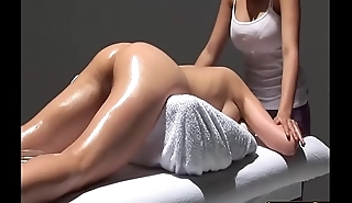 Lesbian Spread out Erotic Massage Oil Feed - LesbianCums.com