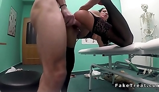 Patient in fishnets fucking in fake hospital