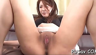 Japanese pussy gets finger fucked as that babe licks big cock