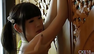 Shy Japanese teen Uri'_s body touched and massaged with oil
