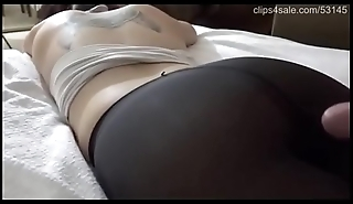Cumshot exposed to nice pantyhose ass