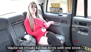 Super hot blonde masturbates in fake taxi