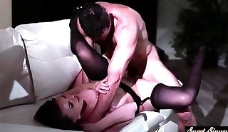 Glam stepdaughter rides cock passionately