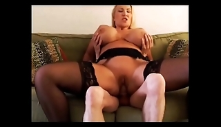 Busty Blonde whore loves to get covered in cum