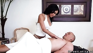Huge tits Latina masseuse fucks huge dick