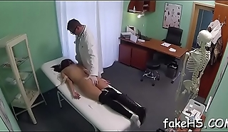 Lovely, yet wicked doctor gets her juicy pussy hammered hard