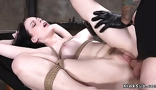 Anal plugged pale slave throat fucked