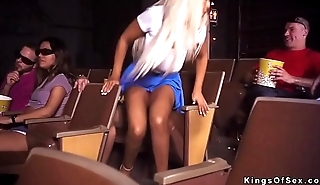 Blonde fucks stranget in cinema