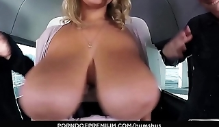 BUMS BUS - Naturally busty chick doggy style fuck fest in substitute for