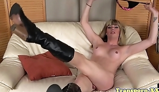 Amateur tranny teases before wanking off