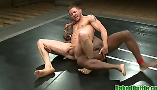 Wrestling black stud pounded on hammer away floor