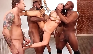 Slut tied and gangbanded by 5 guys -Punishland.com