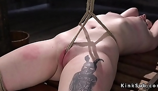 Tied less slave hard whipped to red skin