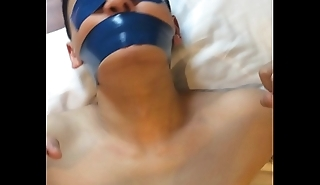 Chinese slave house-servant Tied up and tightly tape gagged with blue PVC tape