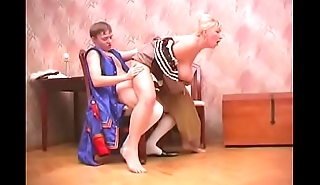 busty russian mature with young guy