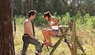 teen couple just 18 years outdoor in the deep squeaker