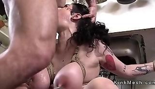 Huge tits resultant in ropes anal fucked