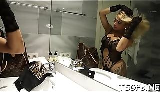 Juicy ladyboy with nice wazoo undresses added to gets pounded abiding